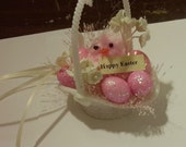 2 easter baskets handmade shabby pink CHENILLE CHICK vintage style