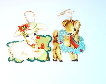 Vintage Brilliants 1930s Die Cut Foil Christmas Card Ornaments, Reindeer Lamb Holiday Christmas Card Ornaments, Antique Ornaments