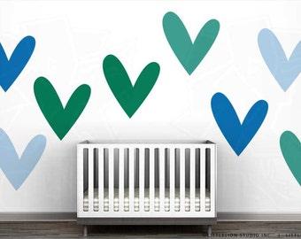 So Much Love Wall Decal Mural by LittleLion Studio - Green Heart, Azure Blue Heart, Light Blue Heart, Turquoise Heart.