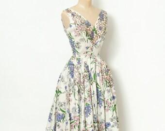 Vintage 50s Dress / 1950s / vlv / Vintage  Dress / pinup / Rockabilly / 50s dress sleeveless / party dress  / Flower dress / party dress