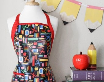 Womens Waterproof Apron Teachers Apron in School Supply Print