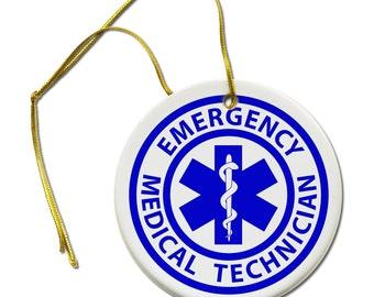 EMT Emergency Medical Technician Fire Rescue 2 7/8 inch Hanging Ceramic Ornament