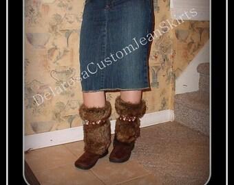 Short Jean Skirt modest below the knee denim size 0 2 4 6 8 10 12 14 16 18 20 22 24 26
