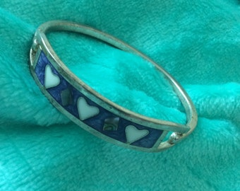 Bracelet hinged bangle Blue turquoise/white inlaid hearts silver child native American