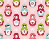 ON SALE - Merry Matryoshka Christmas Cotton - MAIN Pink c4380 - Riley Blake Designs - By the Yard