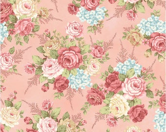 Large Floral Toss in Pink - PEACEFUL GARDEN - Mary Jane Carey for Henry Glass Fabric  - By the Yard
