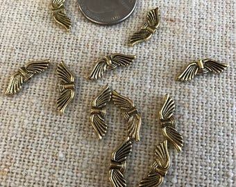 Bali Style Antiqued Gold Wing Beads  (50ct.)