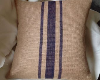 Striped Burlap Pillow Cover in Dark Blue Rustic Grain Sack Pillow by sweet janes plan