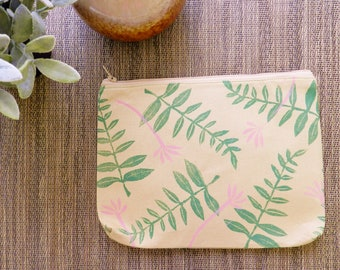 Botanical Print Clutch or Zipper Pouch. 8 Inch. Green and Print Block Printed.  Travel Organization. Gift for Her. Mother's Day Gift. Boho.
