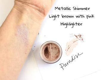 Paradise Metallic Brown Eye Shadow - Mineral Eye Shadow Natural Sparkle Eye Makeup Color- Brown Pink Metallic Eye Color