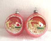 1950s Christmas, Pink, Ornaments, Indent, Diorama, Santa, Sleigh, Reindeer,  Japan, set of 2
