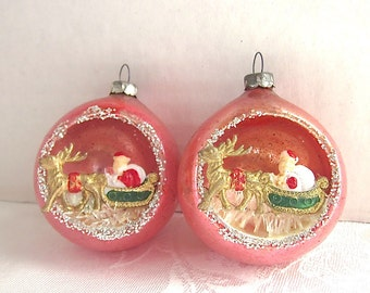 1950s Christmas, Pink, Ornaments, Indent, Diorama, Santa, Sleigh, Reindeer,  Japan, set of 2