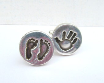 Baby Footprint Cufflinks, Your Child's Actual Footprints, Handprint Cufflinks, Personalized Silver Cufflinks