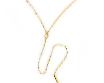 Moonstone Y Necklace, Gold necklace, lariat necklace, layering necklace, delicate necklace