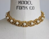Vintage Trifari Faux Pearl Necklace Choker Gold Tone 16 Inch / Designer Jewelry Signed