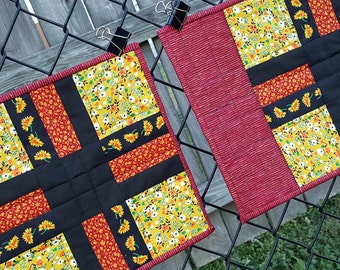 Quilted Place Mats Patchwork with Sunflower Print and a Rusty Red Print to bring a splash of homespun country charm