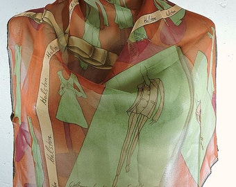 Two Vintage Silk Chiffon Scarves By Halston