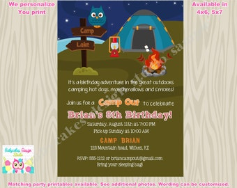 Camping birthday invitation camping invitation camp out camping sleepover campfire cookout birthday invitation invite boy printable