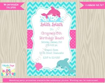 Dolphin Birthday Invitation, Dolphin Invitation, Dolphin birthday party, aqua pink chevron printable DIY digital