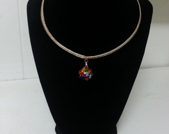 Rainbow Crystal Ball Basket Weave Necklace
