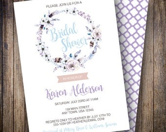 Boho Watercolor Floral Bridal Shower Invite, Printable Floral Bridal Shower Invitation, Rustic Watercolor Bridal Shower in Blue, Purple, Tan