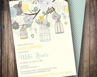 Floral Birdcages Baby Shower Invitation, Floral Baby Shower Invite, Printable Baby Shower Invitation in Gray, Yellow, Teal Blue