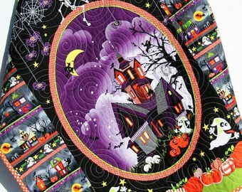 Halloween Quilt, Baby Blanket, Black Purple Orange Green Haunted House Pumpkin Spiders Webs Ghost Bats Stroller Blanket Ready to Ship