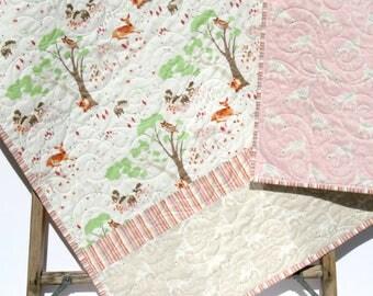 Woodland Baby Quilt, Girl Baby Bedding Nursery Blanket Toddler Bedding Forest Nursery Owl Deer Fox Pastel Pink Green Woodland Crib Blanket