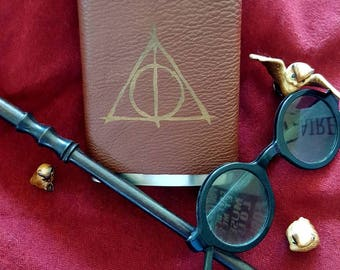 Leather Wrapped Flask - Harry Potter Deathly Hallows Design