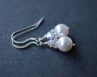 Bridal Cream Pearl Earrings, Sterling Silver, Crystal Bead Earrings, Swarovksi Pearls, Cream Pearl Earrings, Bridal Earrings