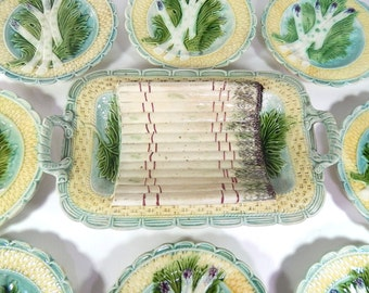 8 French Vintage Majolica Asparagus Plates and Server from Salins