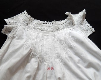 French Vintage Nightgown with Hand Crocheted Yoke Smaller Size for Girl
