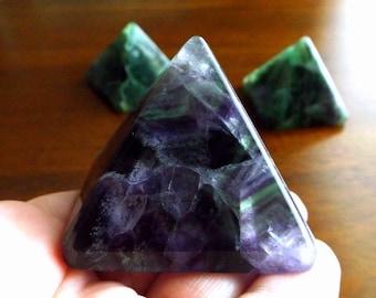 "Purple Fluorite Pyramid - 2"" crystal pyramid, crystal healing, Reiki, crystal grid"
