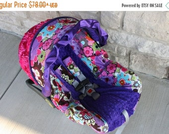 SALE Limited stock - Purple Bright Floral 3D rose accent Infant car seat cover with ruffle, girly baby slipcover for car seat - Custom Order