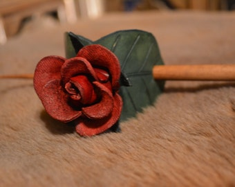 Leather Stick Barrette - Red Rose
