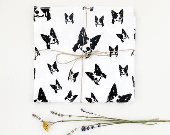 Border Collie Organic Cotton Baby Swaddle Blanket, Newborn Receiving Blanket, Newborn Coming Home Outfit, Nursing Blanket, Collie Baby Gifts