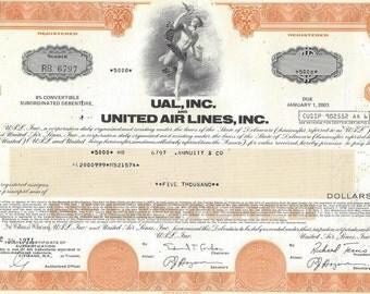 United Air lines Vintage Originial Stock Certificate (orange) ,1970's