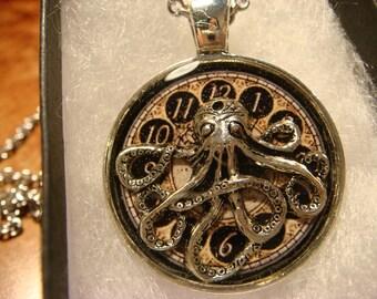 Silver Octopus Clock Steampunk Pendant Necklace (2388)
