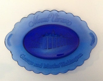 AVON, Mt Vernon, Collectible Glass Plate, Cobalt Blue, Decorative Plate, Signed