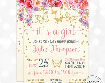 Butterfly Floral Girl Baby Shower Invitation Baby Girl Invite Watercolor Floral Baby Shower Invite Butterflies DIY Printable Invite PDF