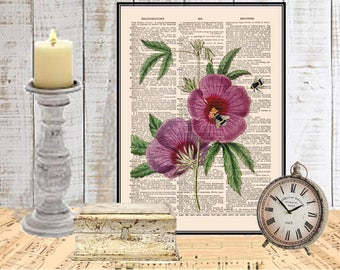 Purple flower Honey bee art print COUPON SALE Dictionary art print wall decor Botanical decor Digital art Bee wall art print Item No 674