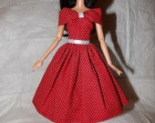 Red & white polka dot dress with shall collar for Fashion Dolls - ed960