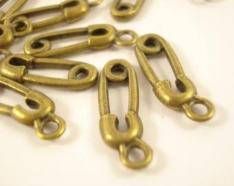 100 Pin Antiqued Bronze Charms Pendant 15x6mm SB-544
