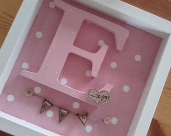 Personalised Box Frame Wooden Large Letter Initial is for .... christening new baby