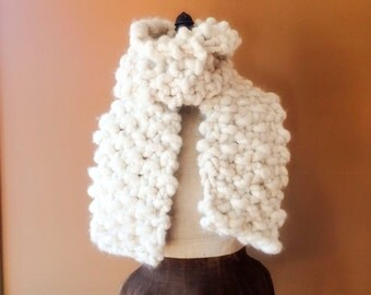 Natural White Chunky Alpaca Scarf