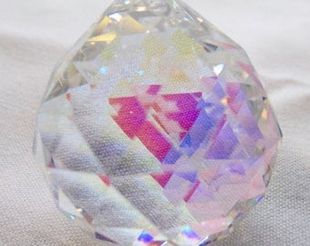 1 - 40mm AB Crystal Ball Chandelier Crystals Prisms - ASFOUR Full Lead Crystal Faceted Crystal Ball