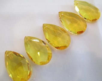 5 ~  YELLOW 38mm Chandelier Crystals Prisms - 38mm Faceted YELLOW Crystals Prisms Pendants