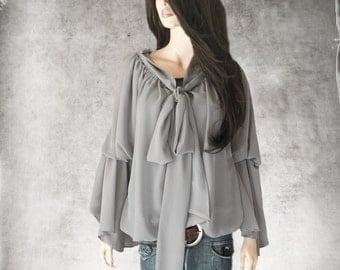 Gray blouse off shoulder/Off shoulder bow top/Long sleeve shirt/Peasant shirt