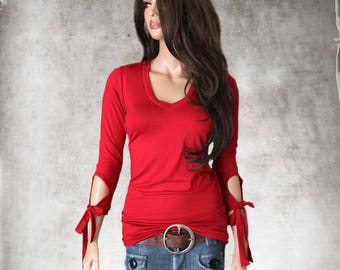 Red women top/Keyhole sleeve ties/Deep v neck