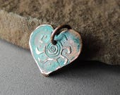 30% OFF Copper Heart Pendant, Heart Sun Charm, Sun Spiral Charm, Handmade Copper, Rustic, Artisan Jewelry, Artisan Handmade, Artisan Finding